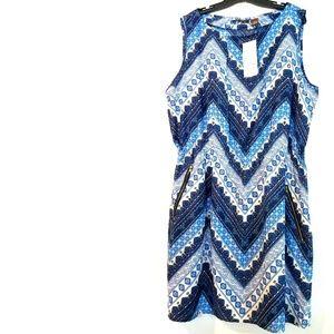 3X Speed Control Blue & White Print Dress NWT